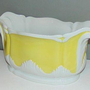 MOTTAHEDEH Yellow White Cachepot Jardiniere